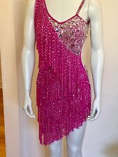 Small Petite Or Junior Latin Ballroom Competition Dress By DORE DESIGNS Hot Pink