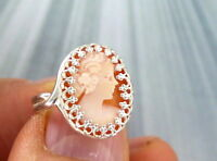 VINTAGE SHELL CAMEO RING IN  STERLING SILVER SIZE 6 TO 9 --ADJUSTABLE