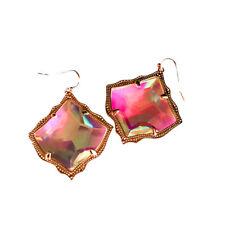 NEW! Kendra Scott Kirsten Rose Gold AB Iridescent Glass Earrings Dust Cover $65