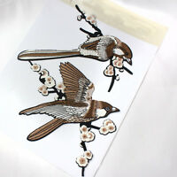 1 Pair Bird Embroidered Patches Iron on Sewing Stripe for clothes applique