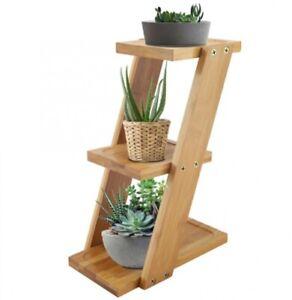 3 Tiers Flower Plant Storage Rack Shelf Bamboo Desktop Standing Garden Displayer