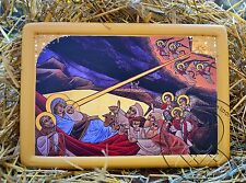 Coptic Nativity Icon Acrylic Religious Gold Plating Art Handmade Gift Home Decor