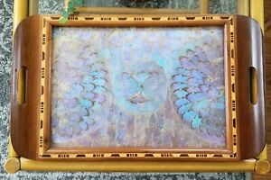 Vintage Butterfly Wing Inlay Tray South America Blue Morpho Estate Find 18x11