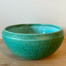 More details for bretby pottery art deco turquoise bowl 21cm dia 2744e marked on base
