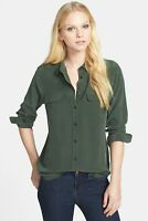 Equipment Femme SMALL Slim Signature Silk Shirt Dark Army Green SEE PHOTOS $230