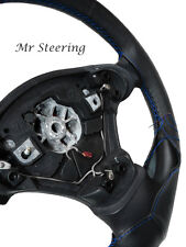 FOR DACIA SANDERO MK2 REAL BLACK LEATHER STEERING WHEEL COVER BLUE STITCH 2013+