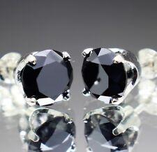 4.30tcw REAL Natural Black Diamond Stud Earrings AAA Grade & $2350 Value......