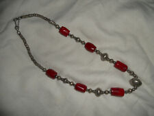 Genuine Red Coral Gemstone White Metal Silver Necklace. Medium Length