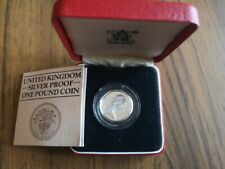 More details for 1984 piedfort silver proof one pound £1 coin - 19g