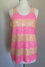 JCREW Collection Rugby-stripe Sequin tank top Xs Neon Pink Orange F3295 NEW