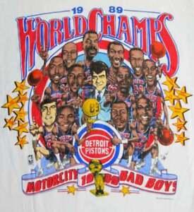 Vintage Detroit Pistons N.B.A Champi0ns Caricature T Shirt Vintage Men Gift Tee