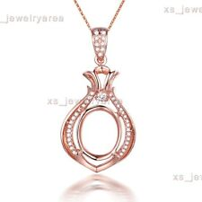 Oval 9x11mm Natural Diamonds 10K Rose Gold Semi Mount Wedding Party Pendant Gift
