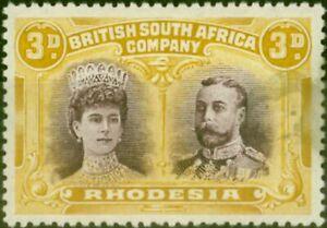 Rhodesia 1910 3d Purple & Yellow-Ochre SG135 Good Mtd Mint