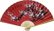 "Large 60"" Folding Wall Fan Chinese Art Home Decor Thai Bamboo Frame Hand Painted"