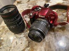 Nikon D3200 24.2 MP Digital SLR Camera - Red With Two Lenses