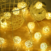 20/40 LEDs Rattan Ball String Light Fairy Lamp Wedding Party Curtain  Xmas Decor