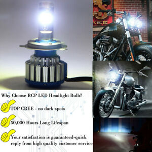 2X H4 9003 LED Headlight Bulb 100W 330000LM Hi-Lo Motorcycle Headlight HID White