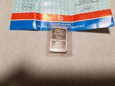 Credit Suisse 10 Gram Silver Bar 999.0 Certified
