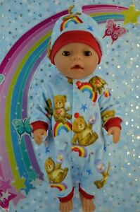 """Play n Wear Dolls Clothes To Fit 17"""" Baby Born PATTERN COVERALL~HAT"""