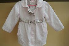 EUC Kids Headquarters Pink Corduroy Coat Size 3T Cheetah print bows, belt, liner