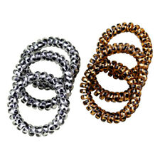 5X Leopard Elastic Telephone Wire Cord Head Ties Hair Band Rope Ponytail Ring FT