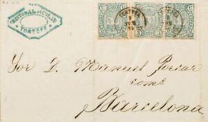 España. Cataluña. Historia Postal. Sobre 154(3). 1875. 5 cts verde, tres sellos