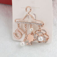 Fashion Women Jewelry Rose Pearl Coat Hanger Crystal Brooch Wedding Brooches
