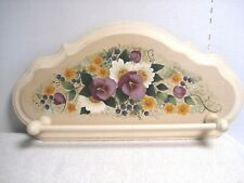 wooden wall hanging Towel Bar Holder Bathroom Kitchen floral pansy shabby chic