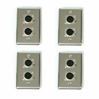 (4) OSP Stainless steel Wall Plate w/ 2-XLR Female Mic Connectors