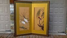 Antique 19c Japanese 2 Panel Watercolor On Silk With Cranes & Parrot Room Screen