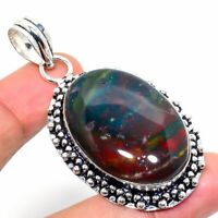 "Bloodstone Gemstone Ethnic Handmade Gift Jewelry Pendant 2.17"" JH"
