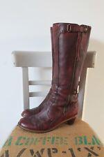 DR MARTENS Red Burgundy LEATHER High Leg Knee Length Tassel BOOTS Size 7 41