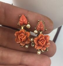Antique Curved  Faux Coral Flowers Pearls Screw Back Clip On Earrings