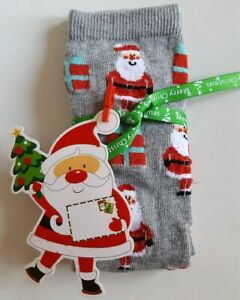 Women's/Girl's Santa Socks With Ribbon And Gift- A Perfect Little Gift!