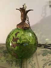 Vintage Green Glass Swag Hanging Light/ Lamp With Brass Leaf Top & Designs Works