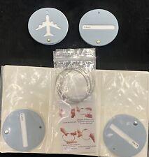 Luggage Tags with Steel Loop Light Blue Airplane 4 Pack NIB