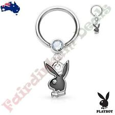 Authentic Playboy Captive Hoop Ring with Clear CZ and Black Bunny Dangle