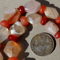 strand of diamond shaped tabular ancient agate carnelian stone beads mali #3947
