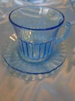 """Fortecrisa Mexico Ice Azure Blue Glass Ribbed Cup & Saucer, cup 3"""" saucer 5 1/4"""""""