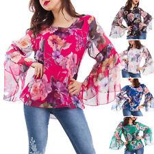 Blusa donna top fiori floreale maniche velate campana elegante sexy AS-9738