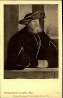 Künstlerkarte J. Löwy Wien 1907 Bildnis Mann nach Gemälde Jan Joest Van Calcar