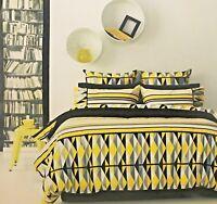 Retro Bahamas Geometric Yellow 250TC Percale Quilt Doona Cover Set - Queen King