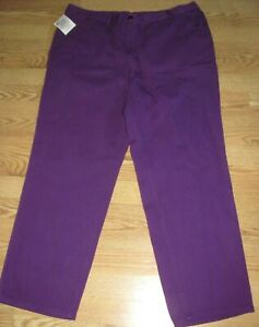 NWT Womens WOMAN WITHIN Purple Zip & Back Elastic Waist Denim Jeans Size: 20W,