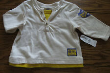 Boys LS Shirt Sz 3-6 mos Ivory & Gold Layered Look 100% Cotton from Old Navy NWT