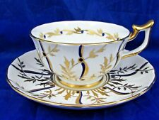 ROYAL CHELSEA HAND PAINTED GOLD GILT LEAFY VINES TEA CUP AND SAUCER