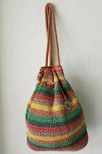 The Sak Crochet Multicolor Backpack Handbag Shoulder Bag Drawstring Bucket