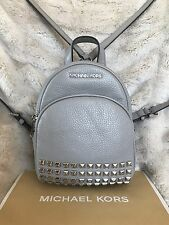 NWT MICHAEL KORS LEATHER ABBEY XS STUDDED BACKPACK BAG IN PEARL GREY