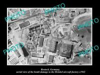 OLD LARGE HISTORIC MILITARY PHOTO ROSTOCK GERMANY AERIAL VIEW WWII BOMBING 1942
