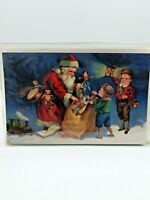 Vintage Merck Family's Old World Christmas Boxed 8 Cards Santa Toys Kids #8975
