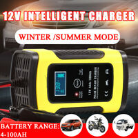 12V DC 5A Car Battery Charger LCD Intelligent 100-240V 100AH Pulse Repair Type
